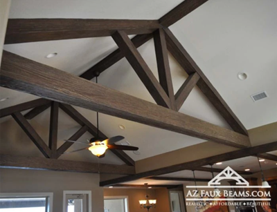 intricate truss design installed in a living room