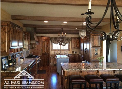 simple faux reclaimed wood beams installed in kitchen
