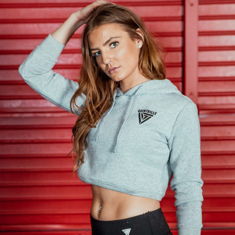 Women's Crop Top Workout Hoodies - Grey