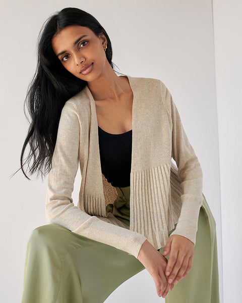 White and Warren Cotton Pleated Cardigan in Buff Heather
