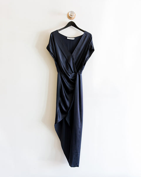 Michelle Mason Wide Neck Wrap Dress in Midnight