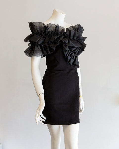 Amanda Uprichard Deja Ruffle Dress in Black