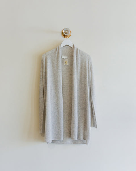 White and Warren Essential Trapeze Cardigan in Grey Heather