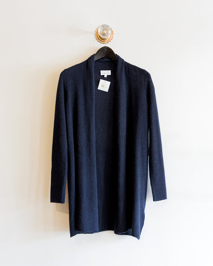White and Warren Essential Trapeze Sweater in Deep Navy