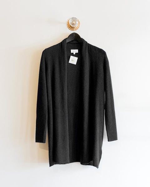 White and Warren Essential Trapeze Cardigan in Black