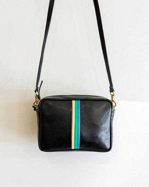 Clare V. Midi Sac in Black Lizard w/ Stripes