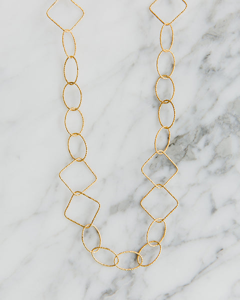 Beksan Designs Geo Square Necklace in Gold