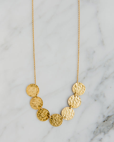 Beksan Designs 24k Gold vermeil - Multi Hammer Disc Necklace