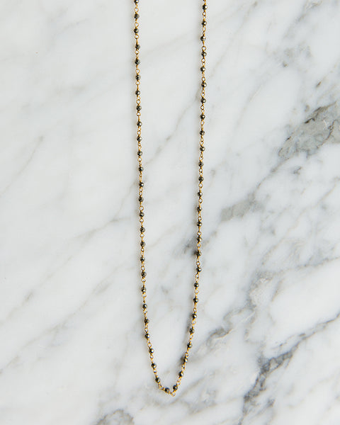 Jennifer Tuton Microbeaded Long Necklace in Pyrite