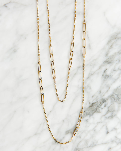 Jennifer Tuton Floating Open Links Necklace in Gold