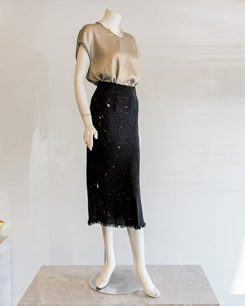 Aquarius Cocktail CJ Bias Midi Length Skirt in Jet