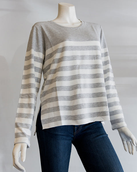 Majestic Filatures French Terry Stripe L/S Crew in Brume Chine/Ecru