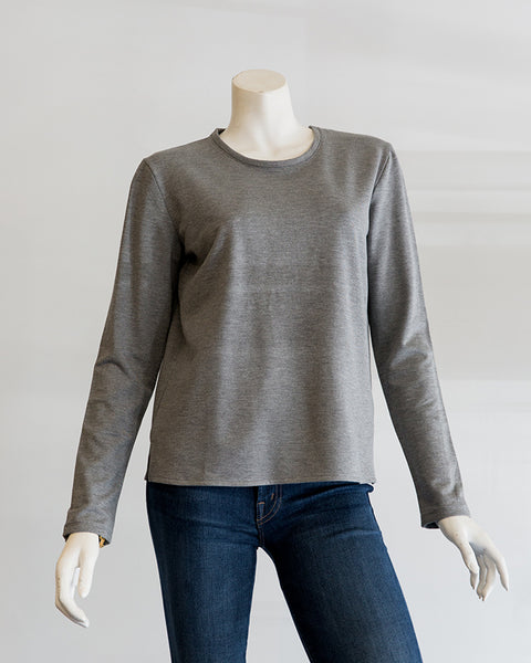 Majestic Filatures French Terry L/S Boxy Crew in Gris Chine