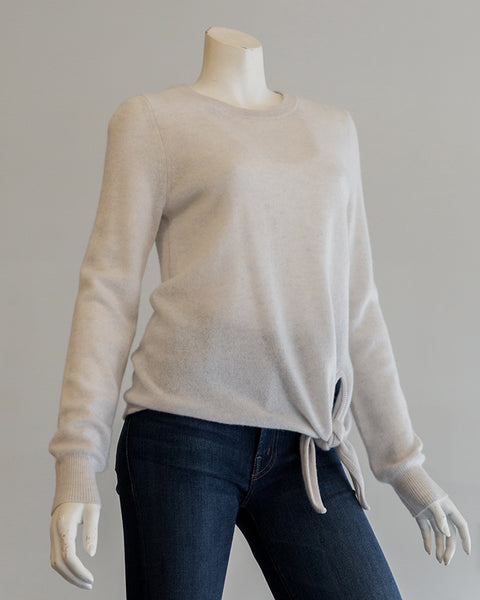 White and Warren Knotted Crewneck Sweater in Platinum Heather