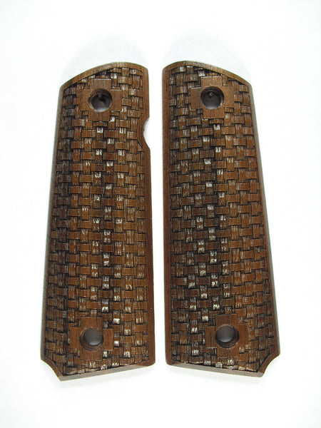 Basket Weave Walnut 1911 Grips (Full Size)