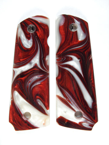 Red & White Pearl 1911 Grips (Compact)