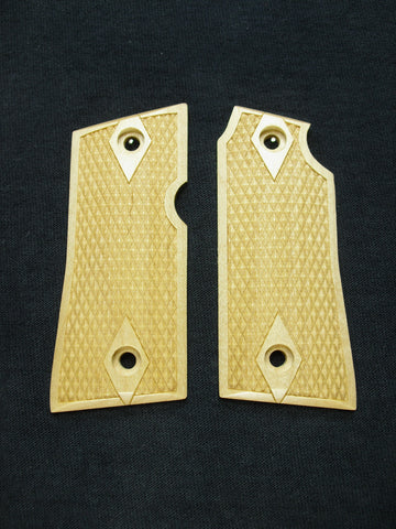 Double Diamond Checker Maple Colt Mustang Pocketlite Grips
