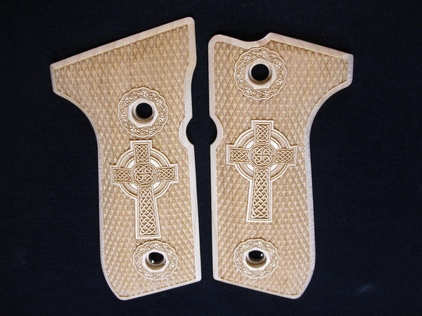 Celtic Cross Maple Beretta 92fs Grips #2