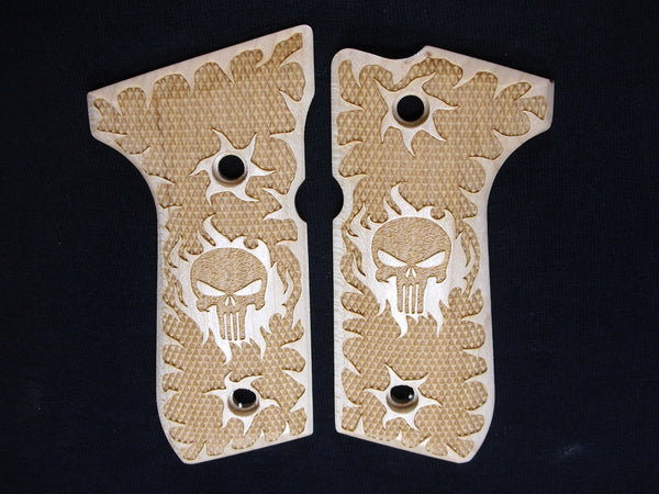 Punisher Maple Beretta 92fs Grips