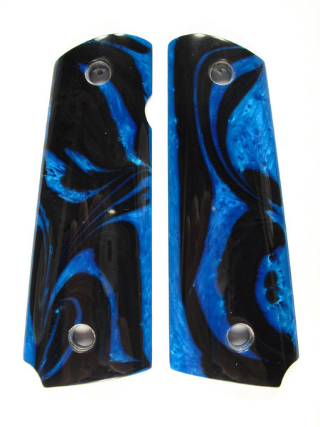 Blue & Black Pearl 1911 Grips (Compact)