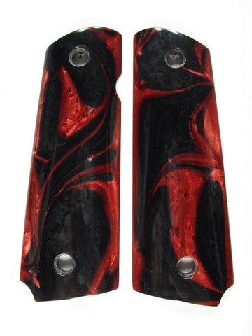 Red & Black Pearl 1911 Grips (Compact)