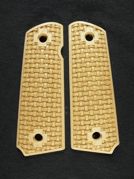 Basket Weave Maple 1911 Grips (Full Size)