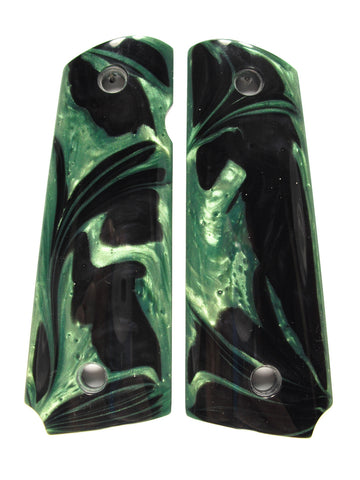 Dark Green & Black Pearl 1911 Grips (Compact)
