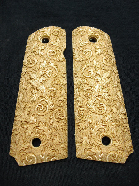 Floral Scroll Maple 1911 Grips (Full Size)