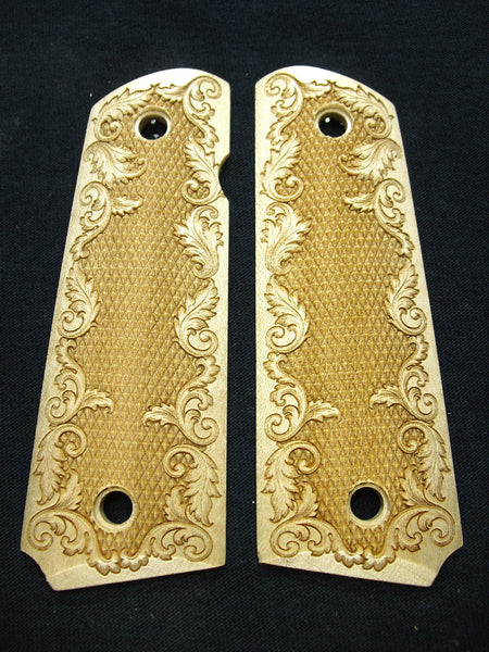 Checkered Floral Maple 1911 Grips (Full Size)