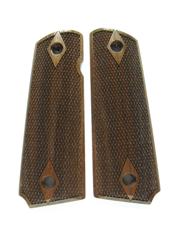 Double Diamond Fine Checker Walnut 1911 Grips (Full Size)