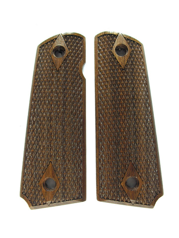 Double Diamond Coarse Checker Walnut 1911 Grips (Full Size)