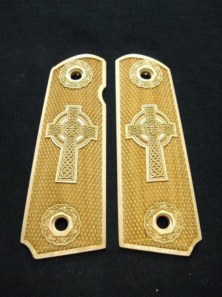 Celtic Cross Full Checker Maple 1911 Grips (Full Size) #2