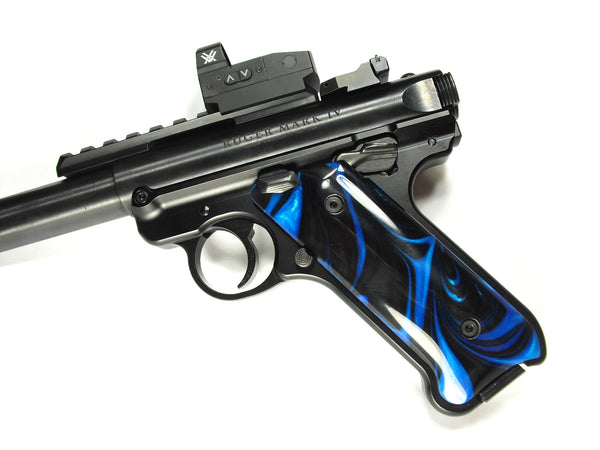Blue & Black Pearl Ruger Mark IV Grips