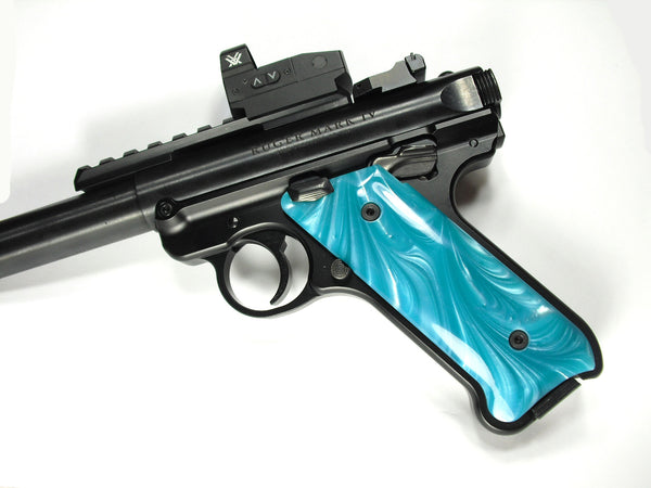 Tiffany Blue Pearl Ruger Mark IV Grips