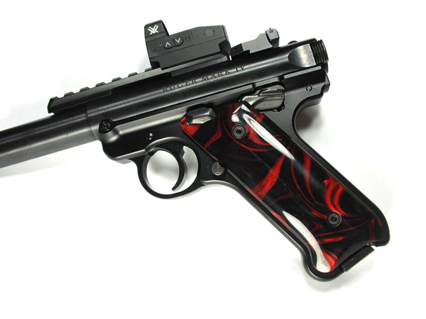 Red & Black Pearl Ruger Mark IV Grips