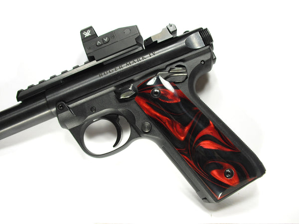 Red & Black Pearl Ruger Mark IV 22/45 Grips