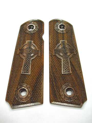 Celtic Cross Full Checker Walnut 1911 Grips (Full Size) #2