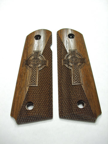 Celtic Cross Half Checker Walnut 1911 Grips (Full Size)