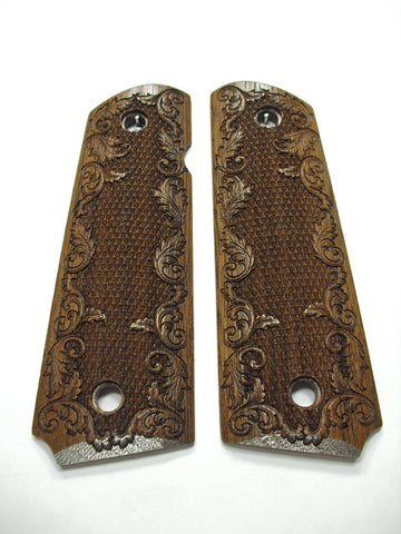 Checkered Floral Walnut 1911 Grips (Full Size)