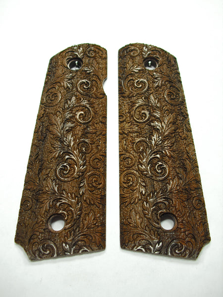 Floral Scroll Walnut 1911 Grips (Full Size)
