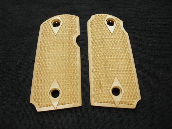 Double Diamond Checker Maple Kimber Micro 9 Grips