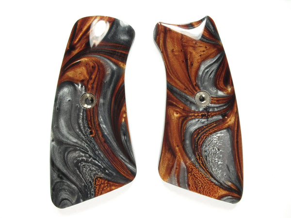 Copper & Silver Pearl Ruger Gp100 Grip Inserts
