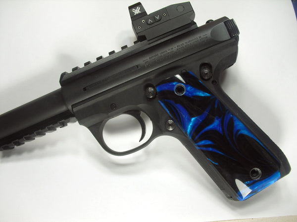 Blue & Black Pearl Ruger Mark III 22/45 Grips