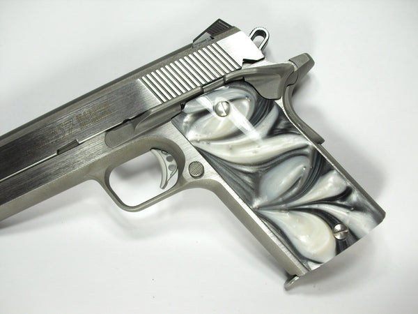 Silver & White Pearl Coonan Compact .357 Grips