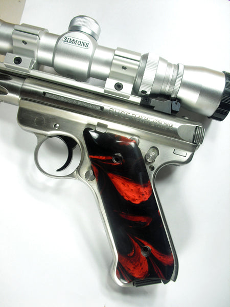 Red & Black Pearl Ruger Mark II/III Grips