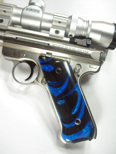 Blue & Black Pearl Ruger Mark II/III Grips