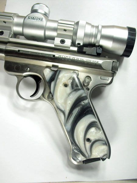 Silver & White Pearl Ruger Mark II/III Grips