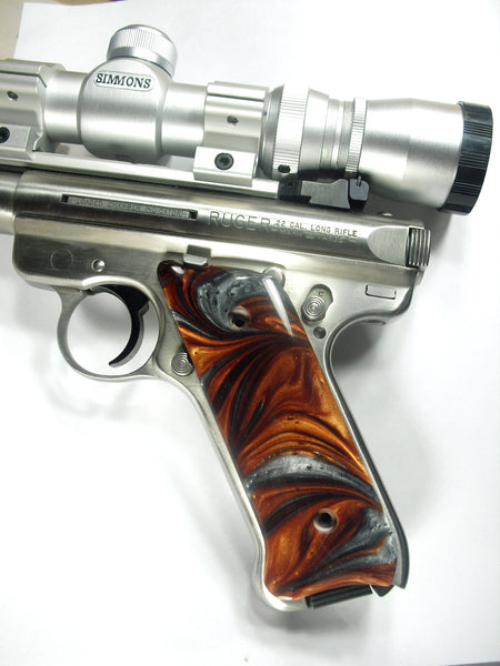 Copper & Silver Pearl Ruger Mark II/III Grips