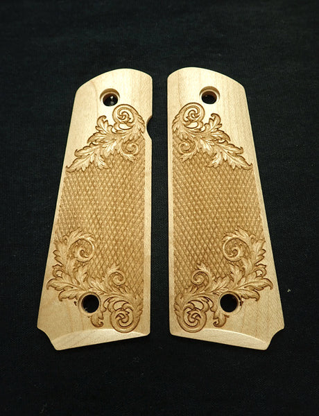 Floral Checker Maple 1911 Grips (Full Size)