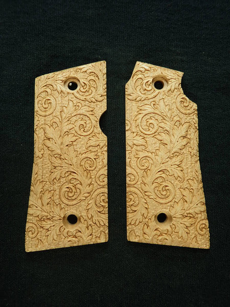 Floral Scroll Maple Colt Mustang Pocketlite Grips